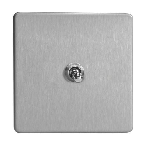 Varilight XDST1S Screwless Brushed Steel 1 Gang 10A 1 or 2 Way Toggle Light Switch
